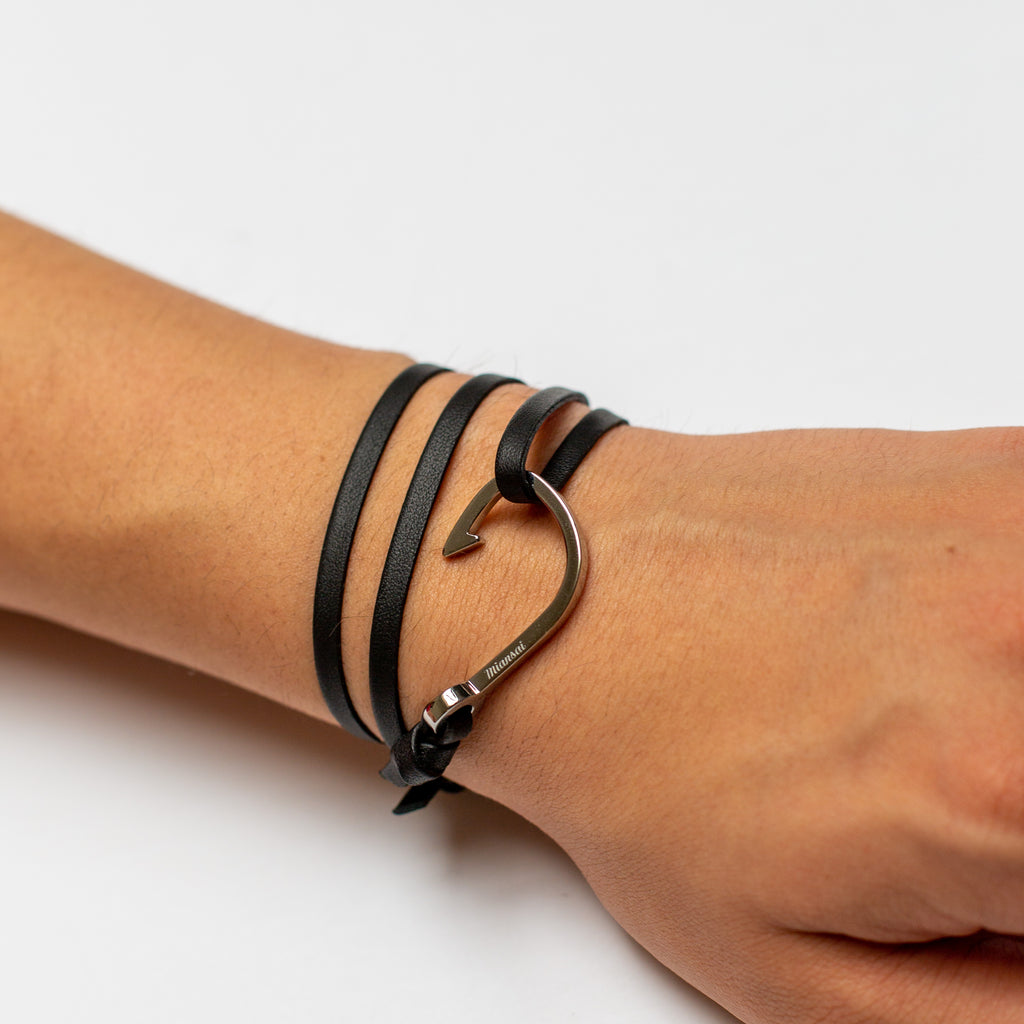 Leather wrap and hook bracelet