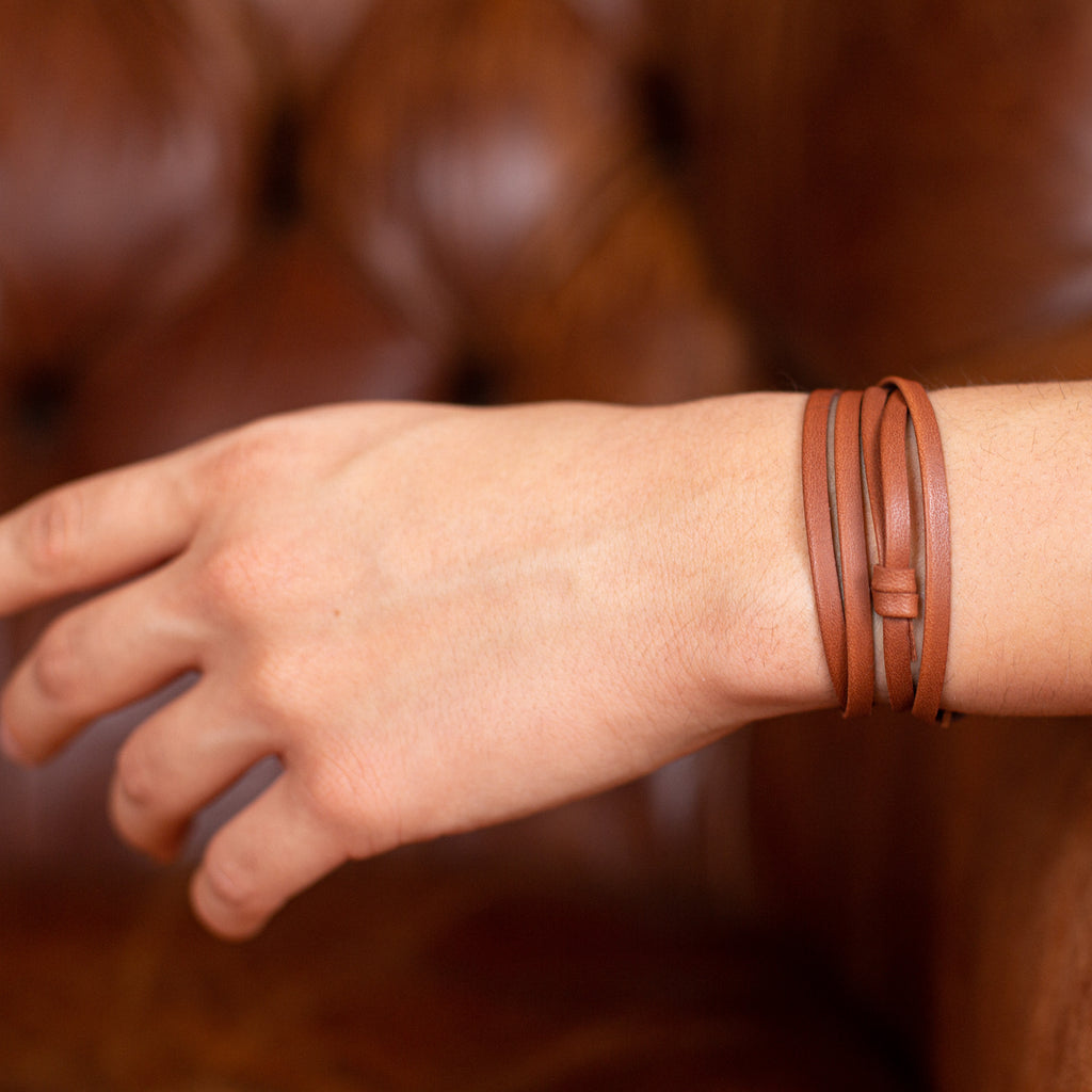 Leather wrap and hook bracelet- Brown leather