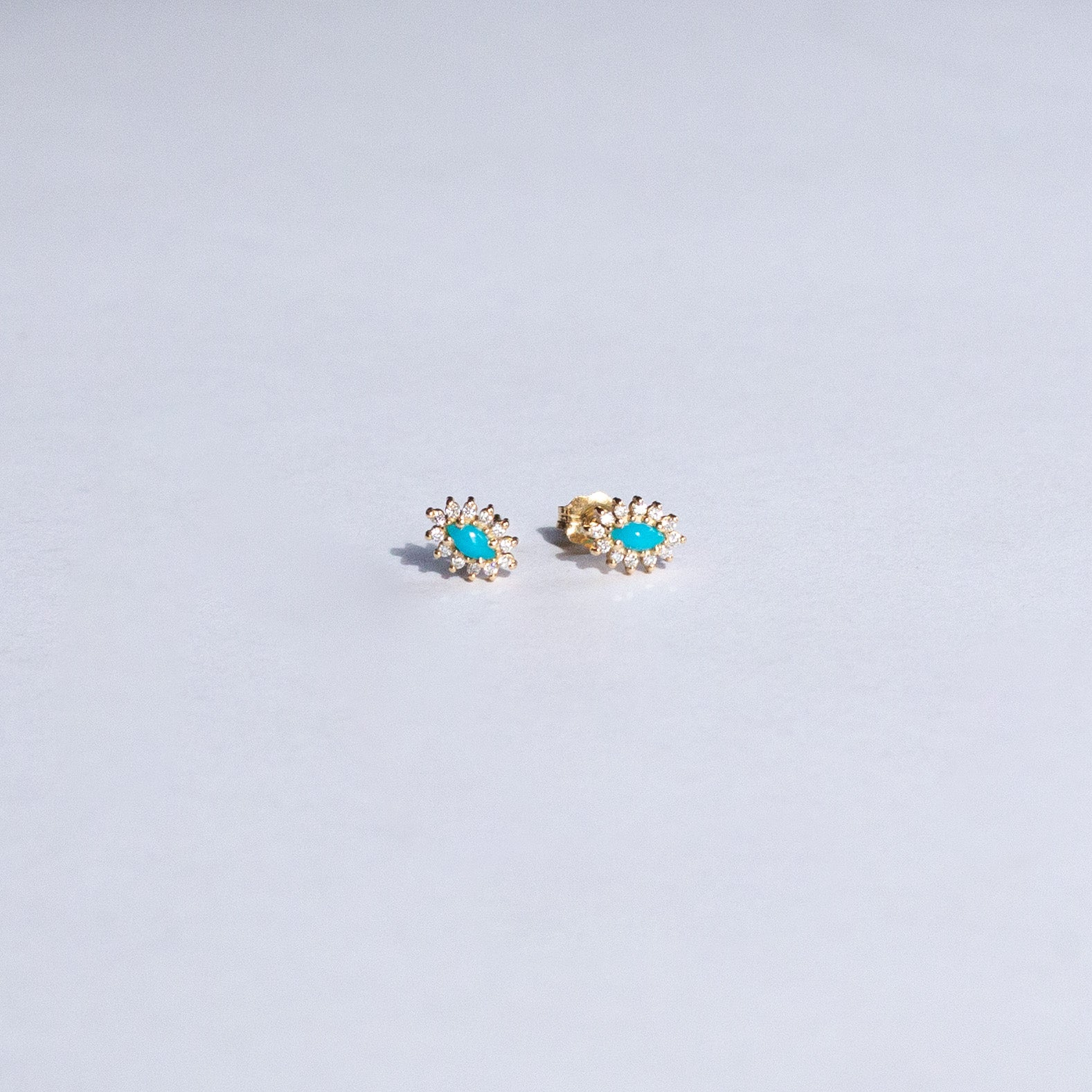 14K Yellow Gold Turquoise and Diamond Stud earrings