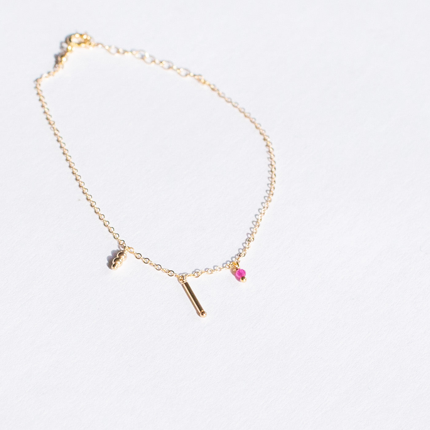 Gold-filled Ruby Bead Bracelet