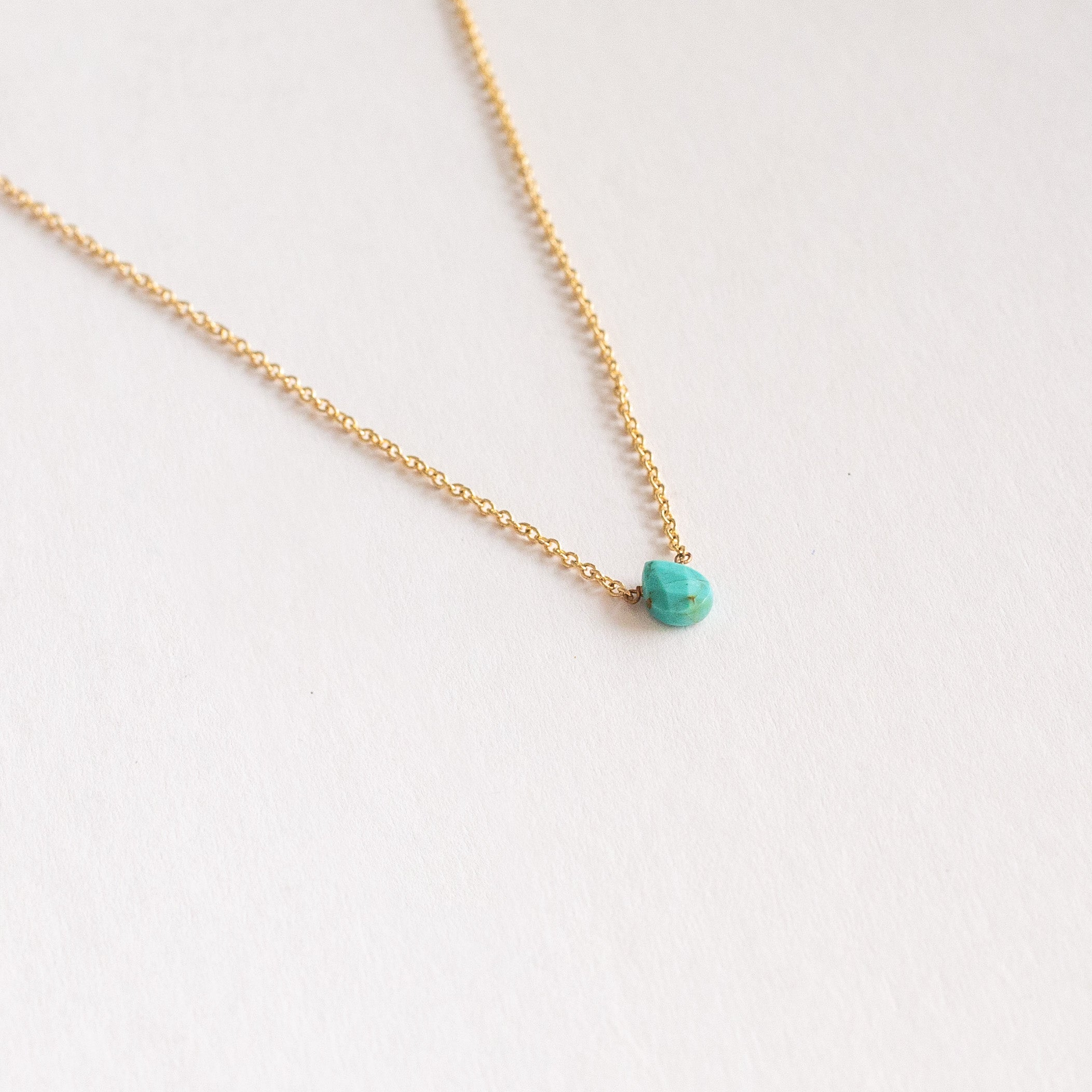 Faceted tear drop Turquoise necklace