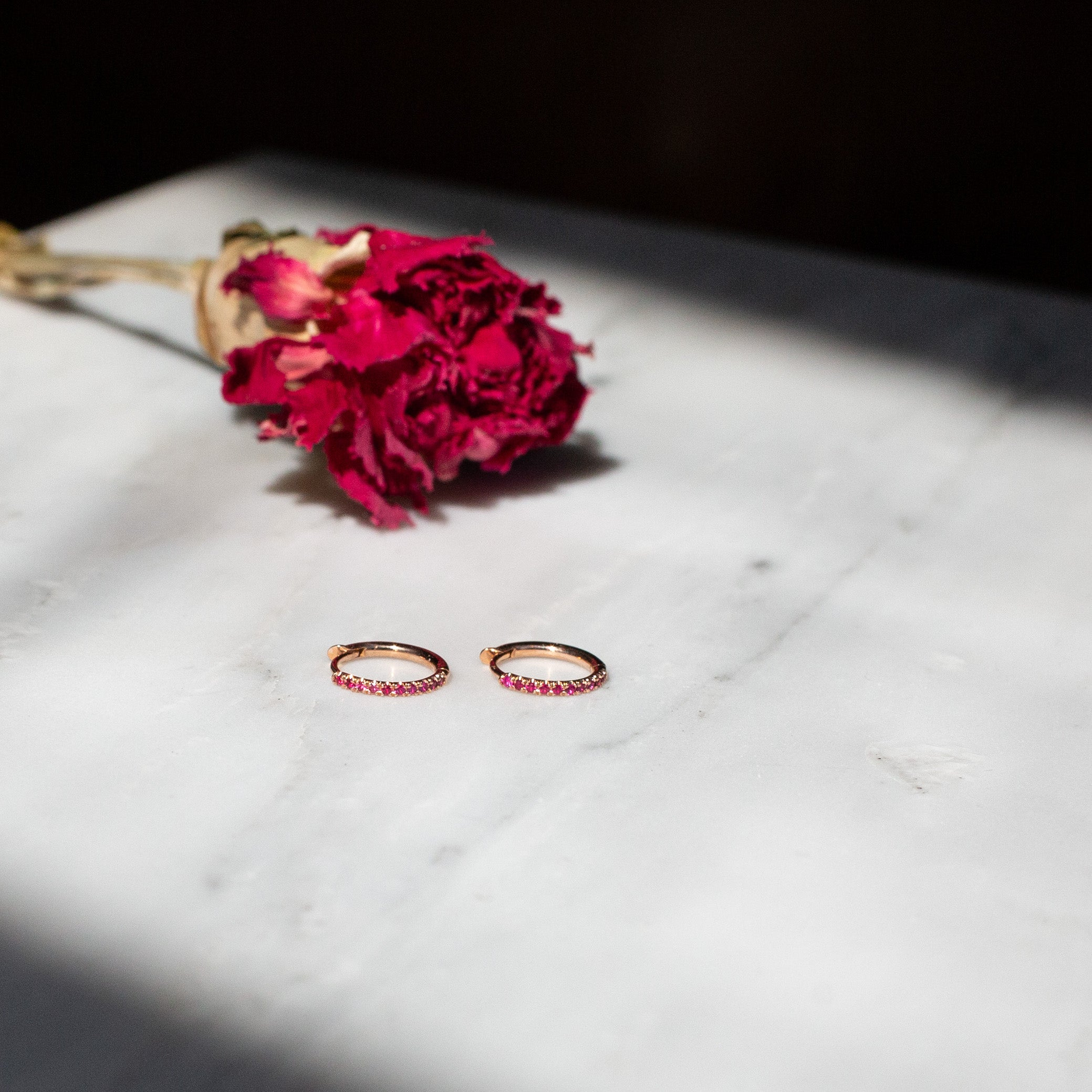 Ruby Huggie Hoop Earrings (available on special order)