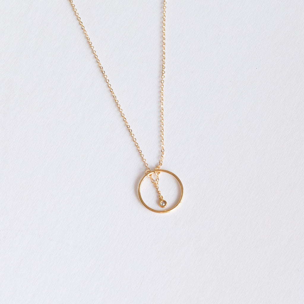 "Gold-filled ""Crystal in Circle"" necklace"