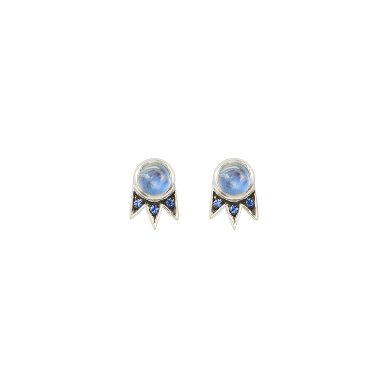 Moonstone and Sapphire White Gold Starburst Stud Earrings - available on special order
