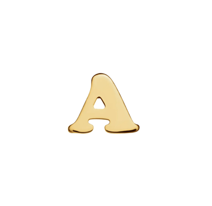 Gold Initial Letter Stud Earrings