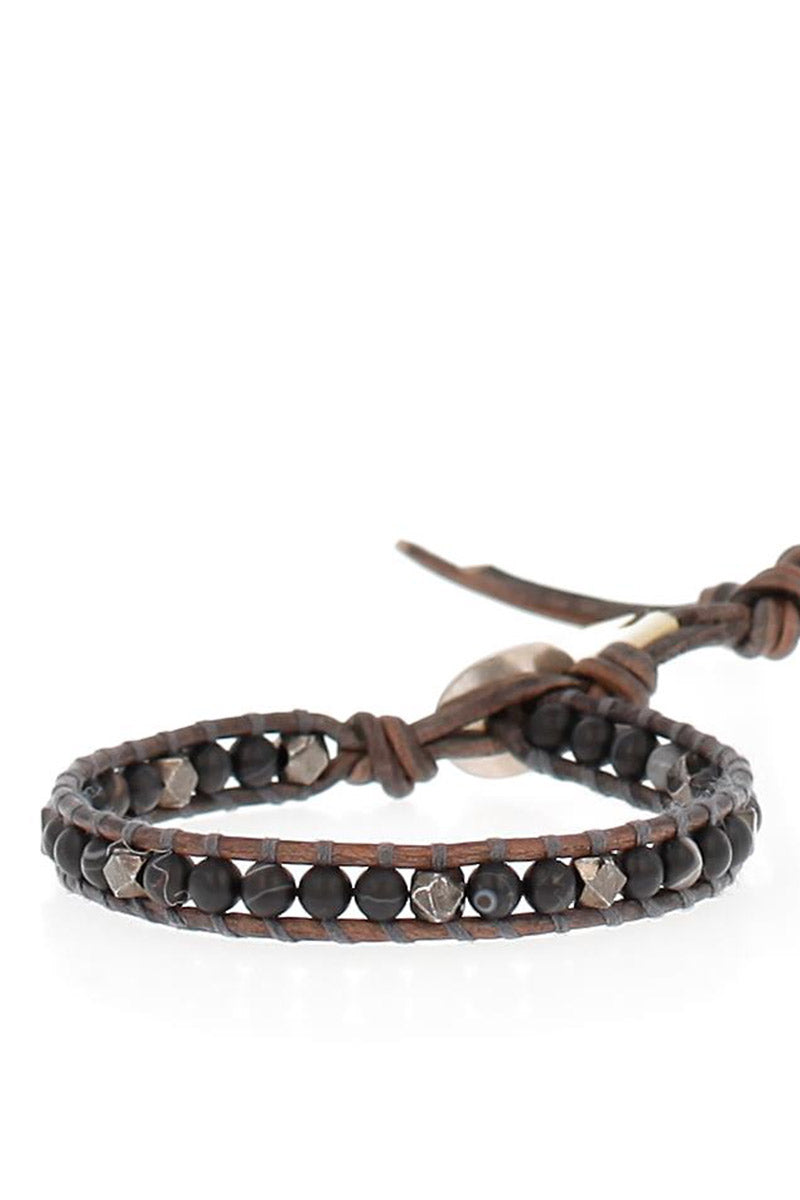 Men's Black Agate and Leather Bracelet
