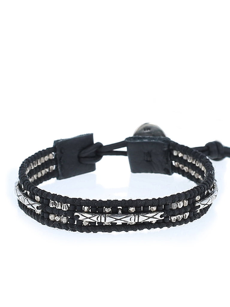 Men's Black Mix Bead and Leather bracelet