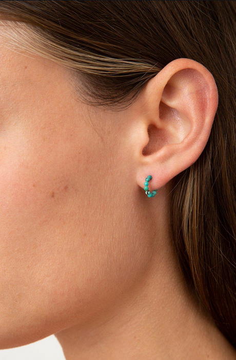 Mini Beaded Turquoise Huggie Earrings