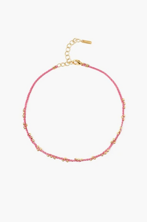 Gold-plated Beads Pink Braided Anklet