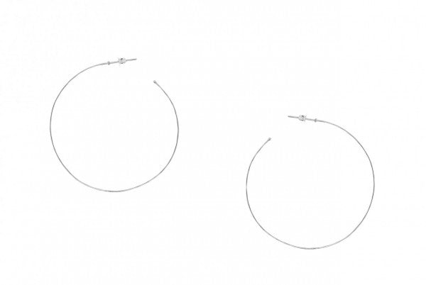 White Gold Hammered Hoop Earrings