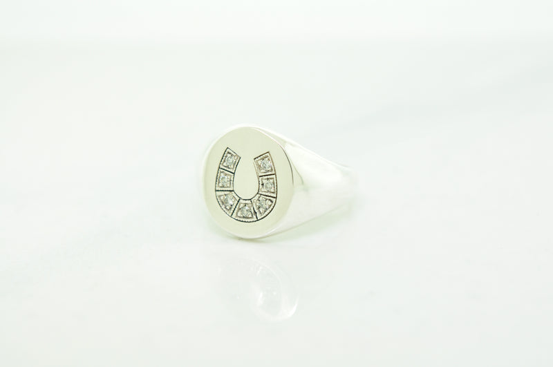 Sterling Silver Diamond Horseshoe Ring