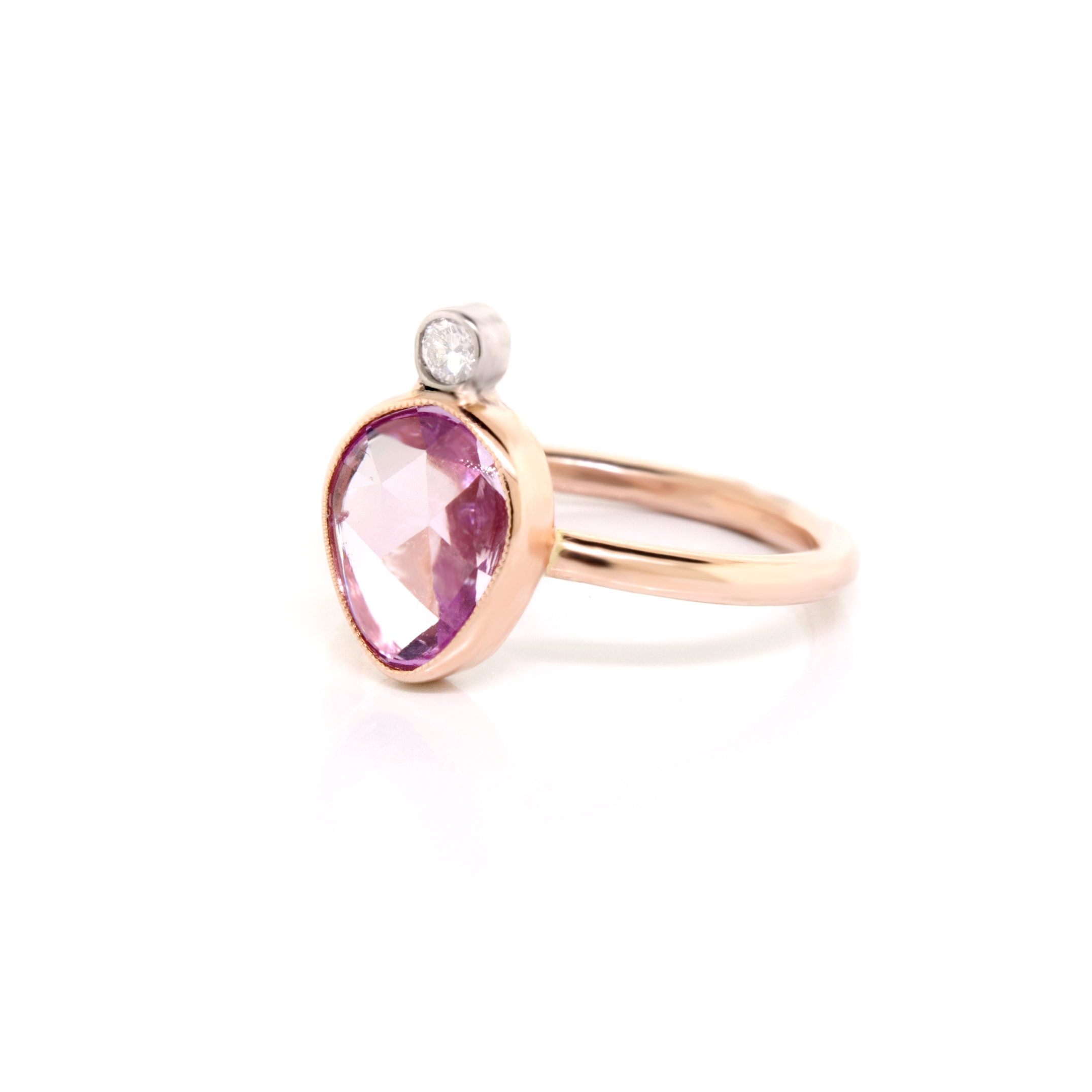 14K Rose Gold Pink Sapphire & Diamond Ring