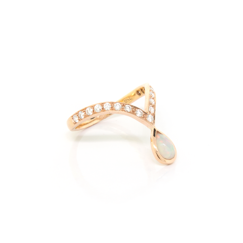 Pear Shape Opal and Diamond Ring