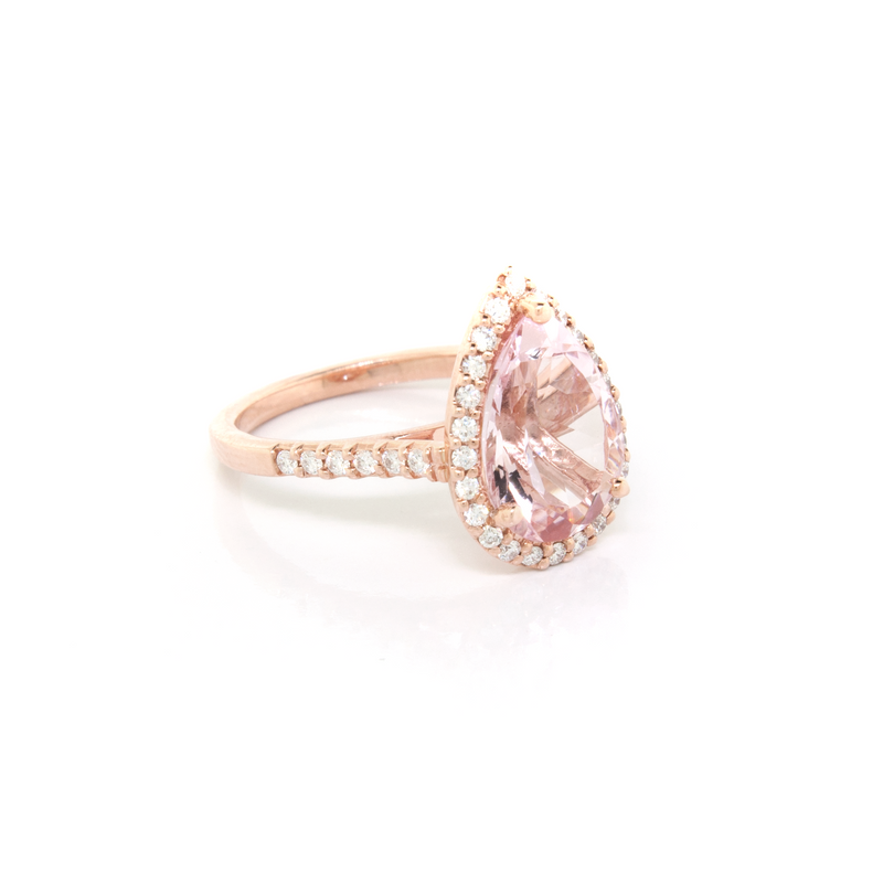 Pear Shape Morganite and Diamond Halo Ring - available on special order