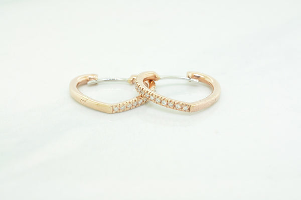 Heart Shape Diamond Hoop Earrings