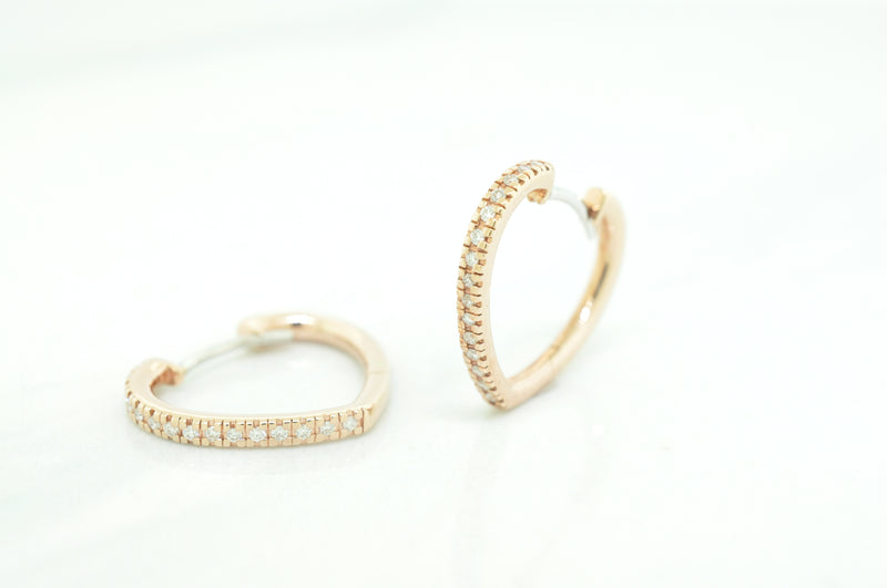 Heart Shape Diamond Hoop Earrings - available on special order
