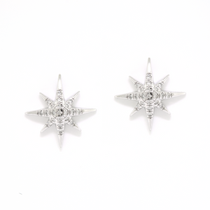 White Gold and Diamond North Star Earrings