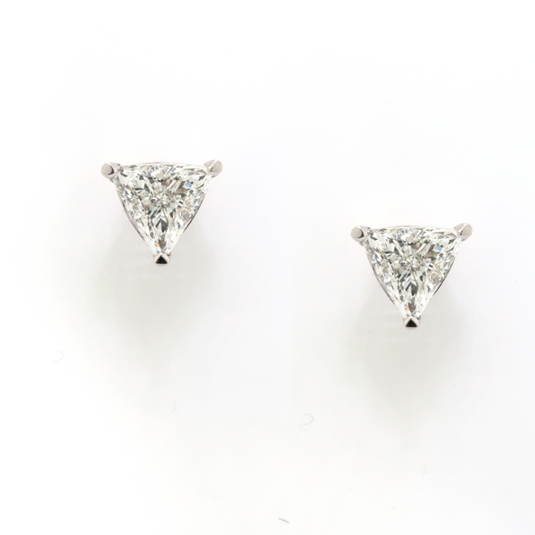 White Gold Trillion Diamond Studs