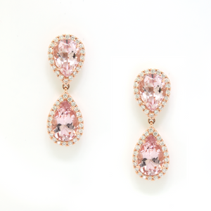 Pear Morganite Drop Earrings with Diamond Halo