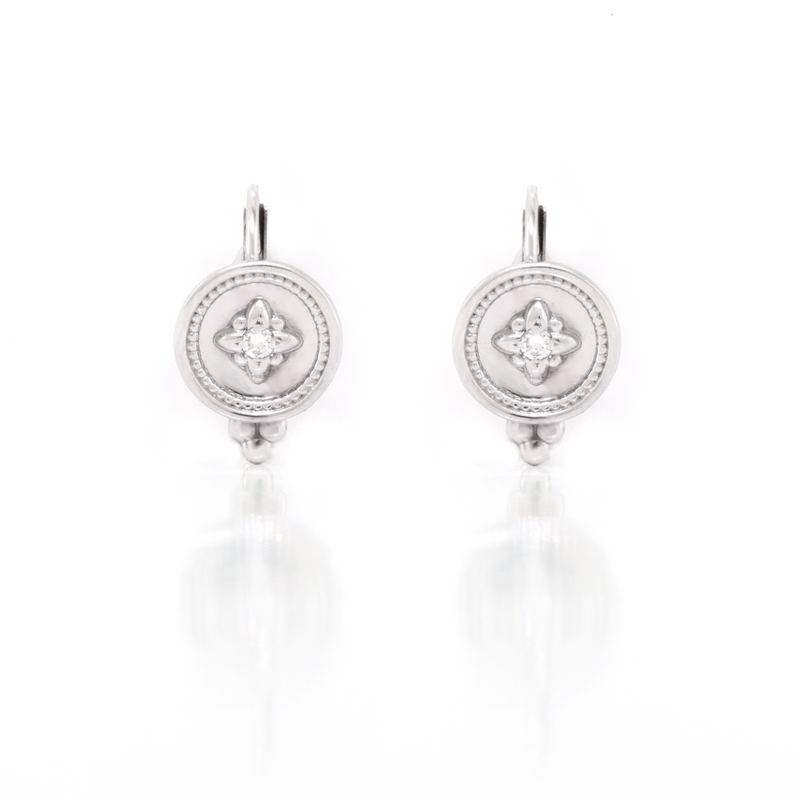 Flower Disc Lever Back Earrings