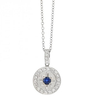 Diamond and Sapphire Pendant Necklace