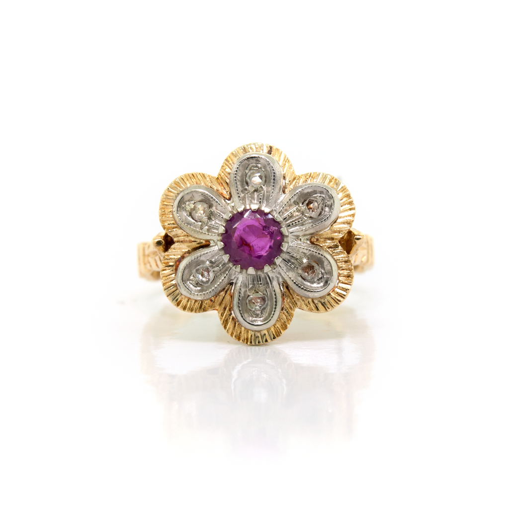 Vintage Ruby Flower Ring