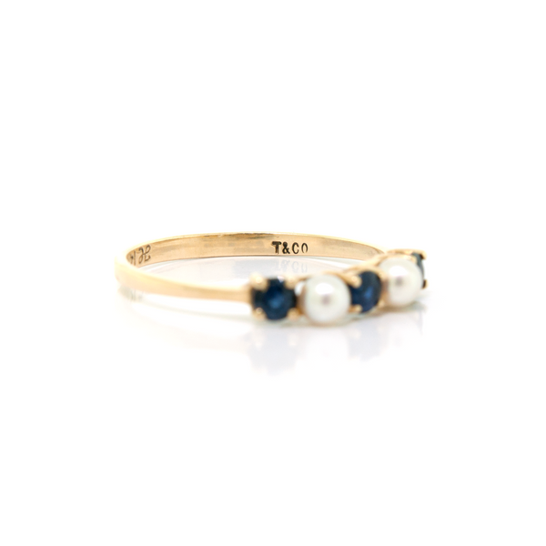 Tiffany & Co Pearl & Sapphire Ring