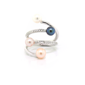 White Gold Multi Color Pearl & Diamond Ring