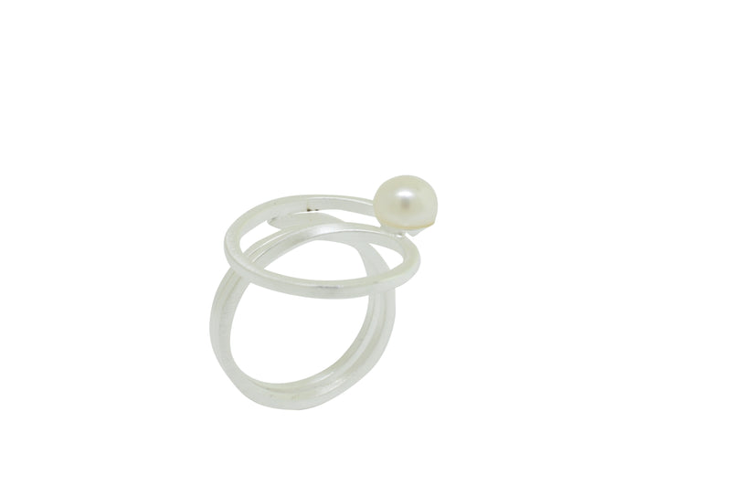 Sterling Silver Open Swirl Pearl Ring