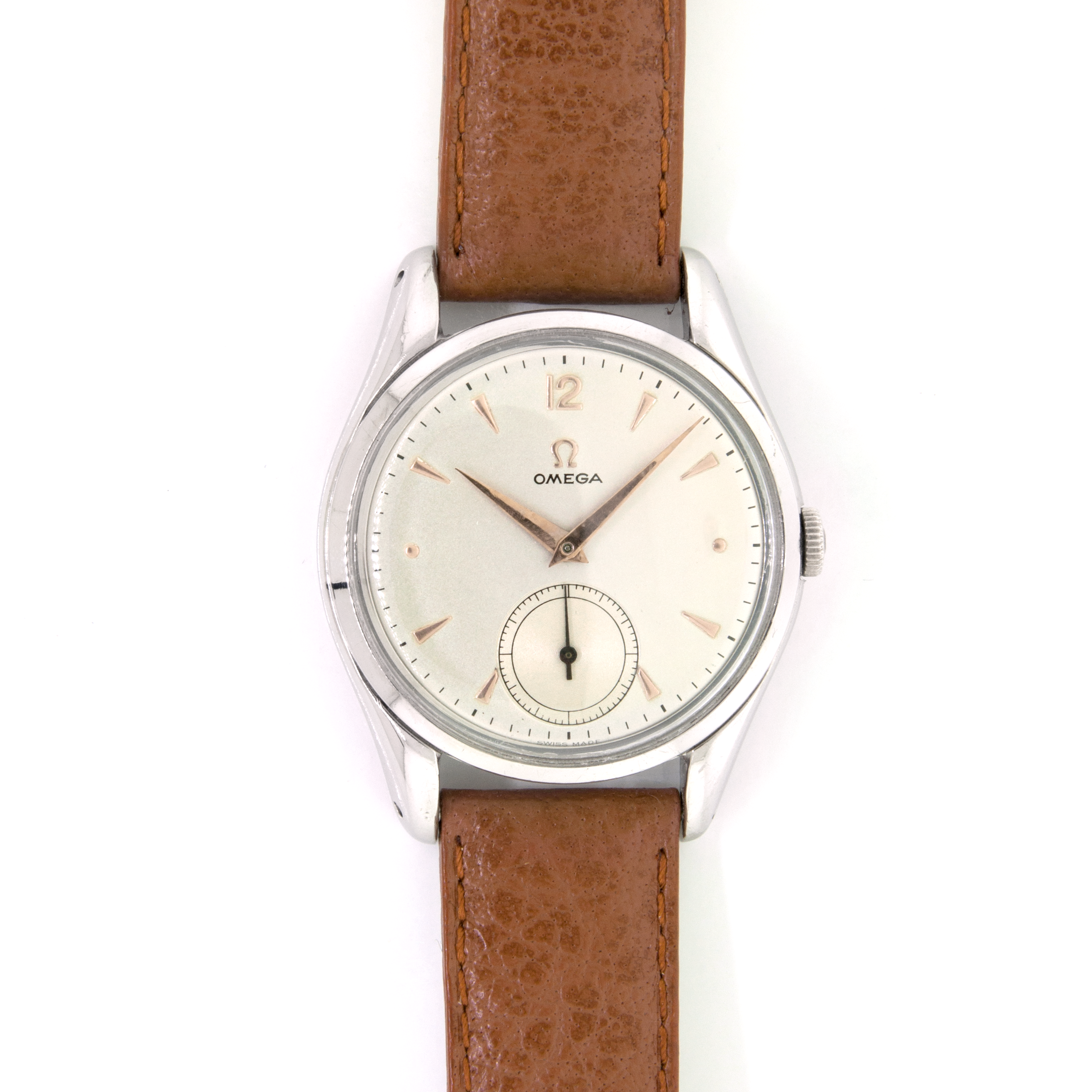Omega Stainless Steel Leather Strap Watch