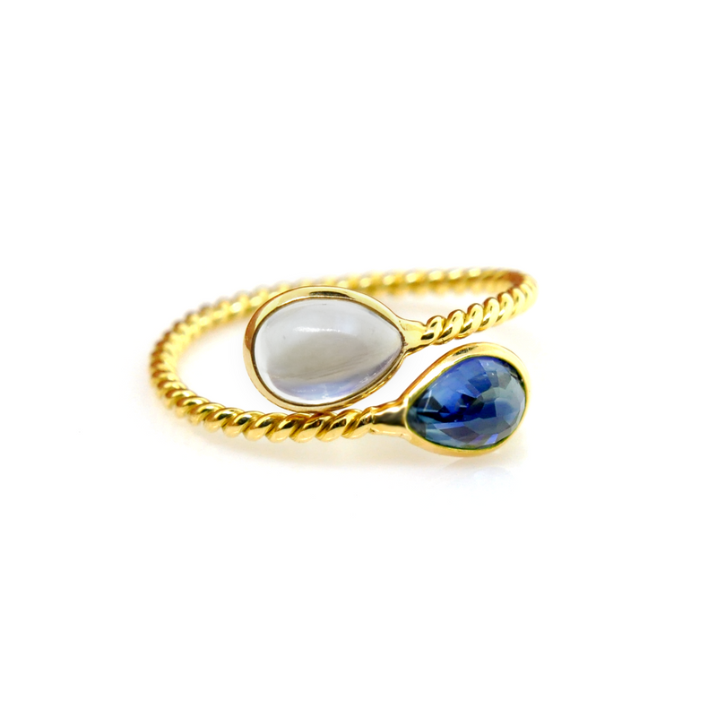 Pear Shape Blue Sapphire and Moonstone Crossover Ring