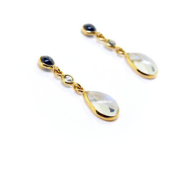 Blue Sapphire Diamond and Moonstone Drop Earrings