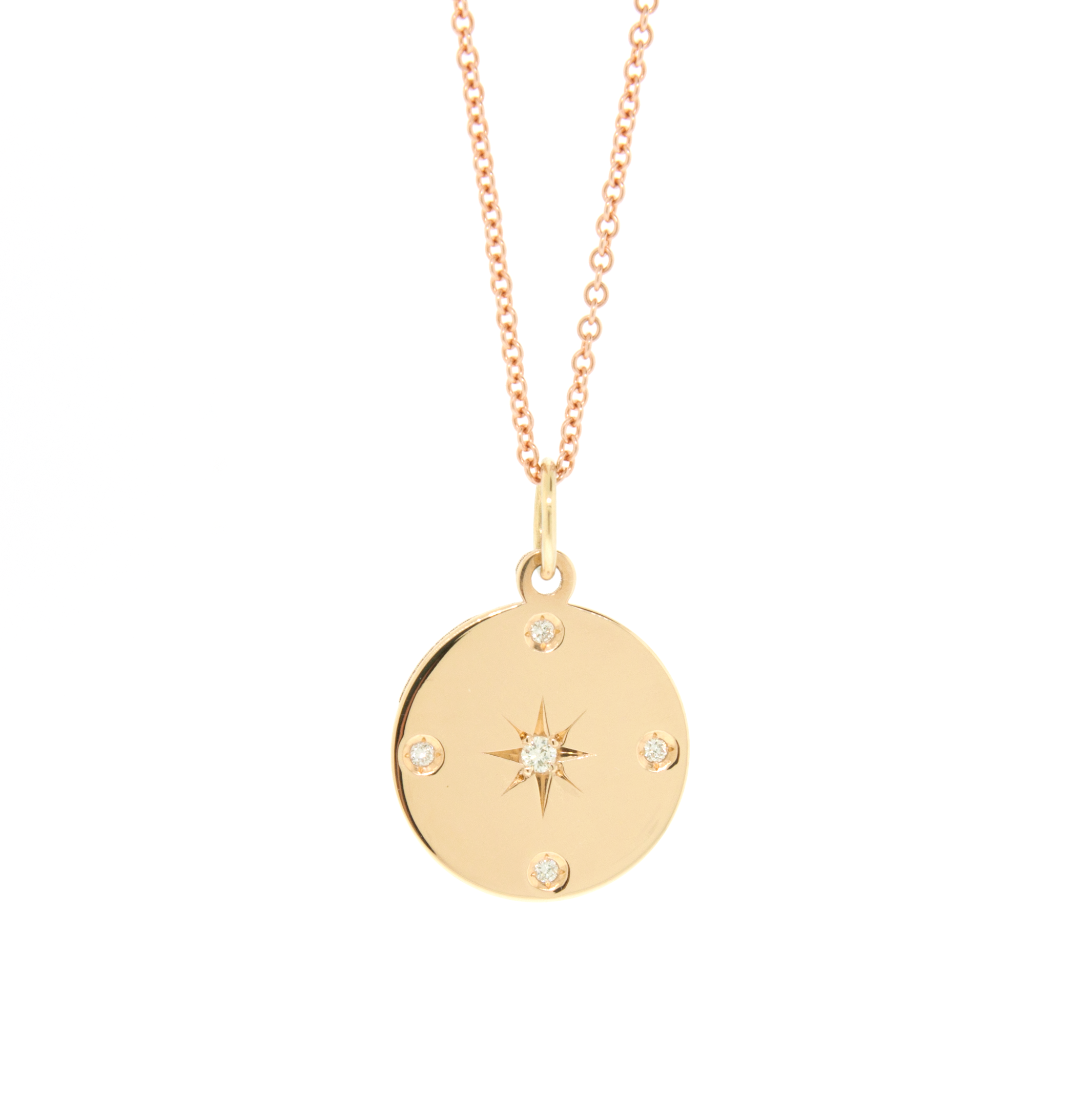 Yellow Gold Star Disc Necklace