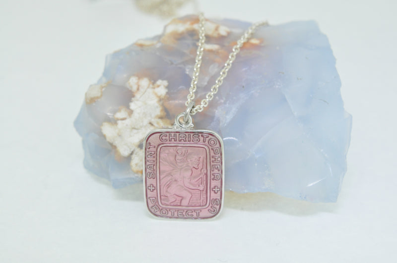 Saint Christopher Pink Enamel Necklace