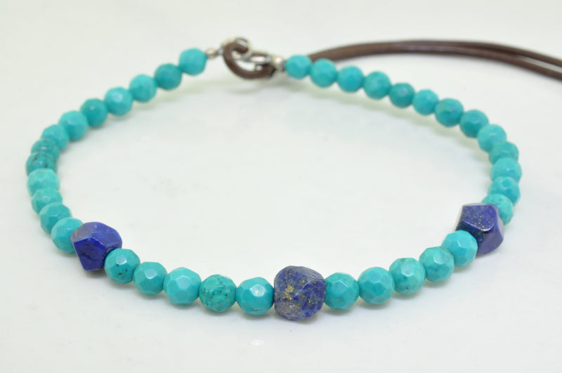 Men's Turquoise and Lapis Beaded Bracelet