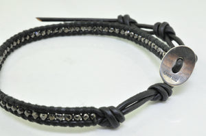 Men's Laboradorite and Hematine Leather bracelet