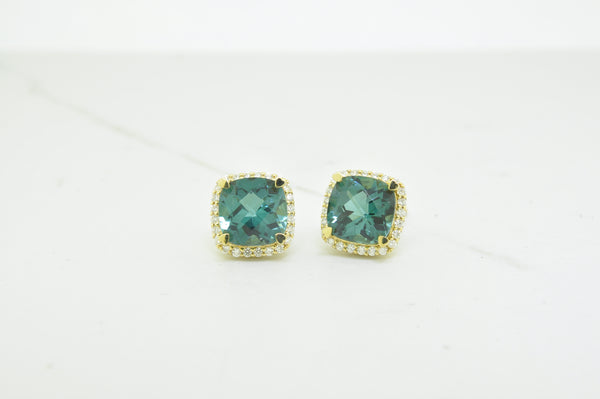 Tourmaline & Halo Diamond Stud Earrings - available on special order