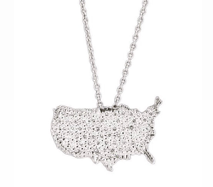 "White gold "" United States of America""  Diamond necklace"