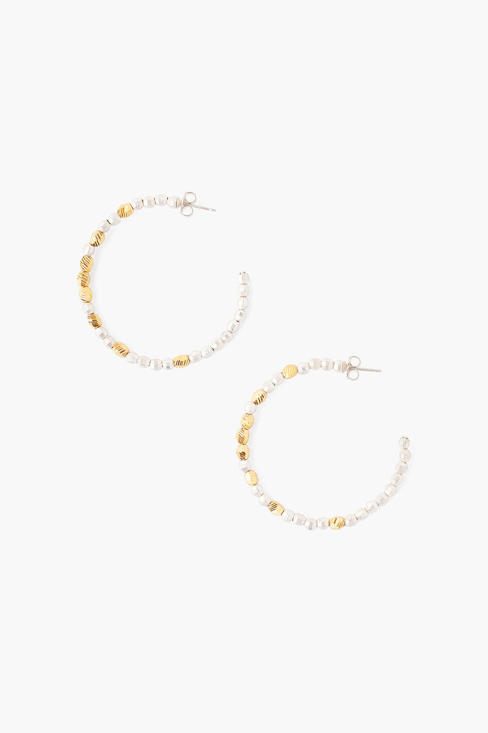 Sterling Silver & Gold-plated Beaded Hoop Earrings