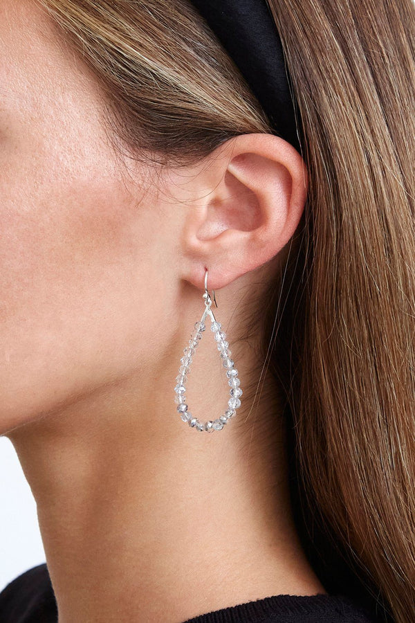 Silver Crystal Teardrop Earrings