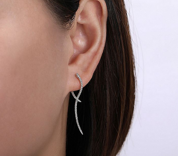 White Gold Sculptural Diamond Drop Earrings - available on special order