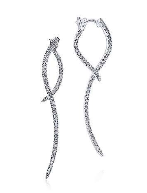 White Gold Sculptural Diamond Drop Earrings