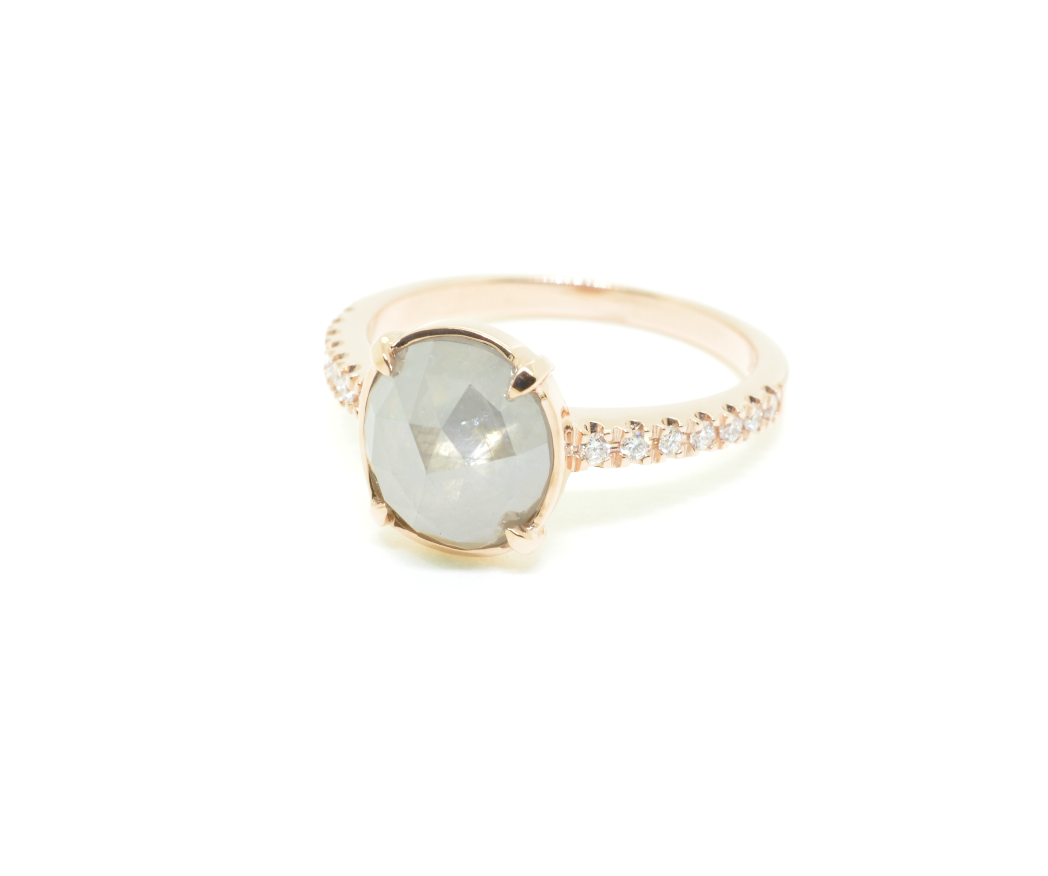 Rose Gold Natural Gray Diamond ring