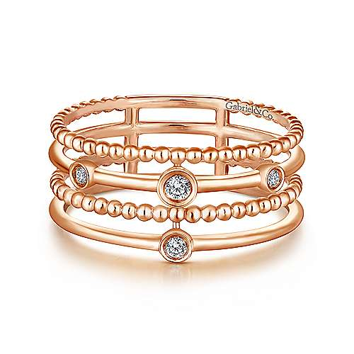 Bezel Set Diamond Station Layered Ring