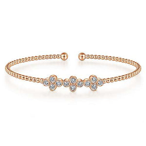 Rose Gold Bead Cuff and Quatrefoil Diamond Station bangle