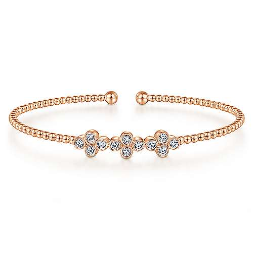 Bead Cuff and Quatrefoil Diamond Station Bangle - available on special order