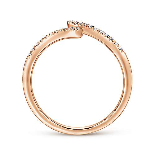 Rose Gold Bypass Split Diamond Ring - available on special order