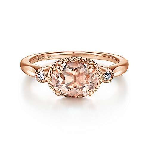 Rose Gold Horizontal Oval Morganite and Diamond Three Stone Ring
