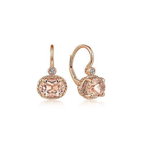 Oval Morganite and Diamond Drop Earrings - available on special order