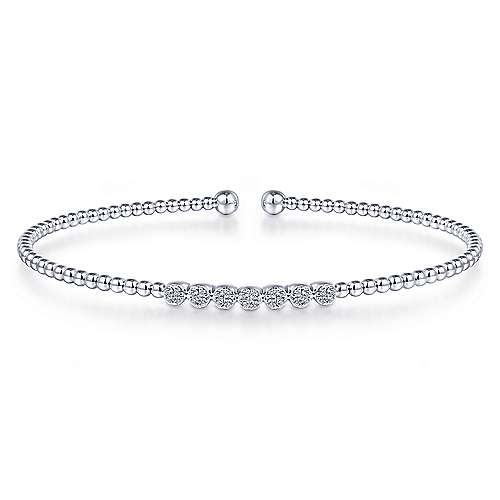 Bead Cuff Bracelet with Cluster Diamond Stations - available on special order